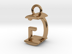 Two way letter pendant - GI IG in Polished Brass