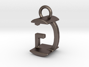 Two way letter pendant - GI IG in Polished Bronzed Silver Steel
