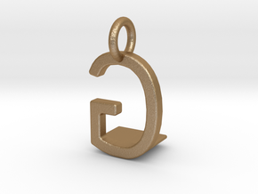 Two way letter pendant - GL LG in Matte Gold Steel