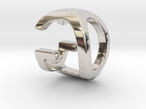 Two way letter pendant - GQ QG in Rhodium Plated Brass