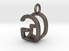 Two way letter pendant - GU UG in Polished Bronzed Silver Steel