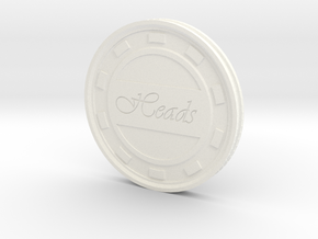 Heads/Tails Flip Coin or Decider in White Processed Versatile Plastic