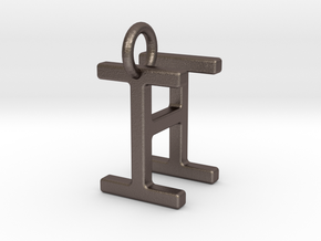 Two way letter pendant - HI IH in Polished Bronzed Silver Steel