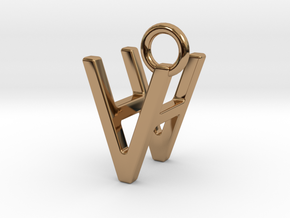 Two way letter pendant - HV VH in Polished Brass