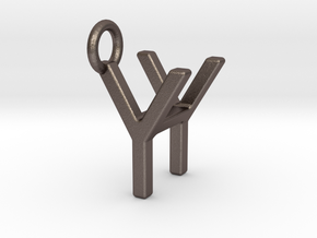 Two way letter pendant - HY YH in Polished Bronzed Silver Steel