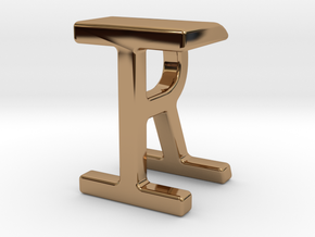 Two way letter pendant - IR RI in Polished Brass
