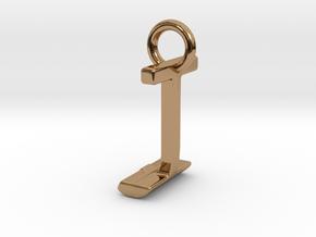 Two way letter pendant - IJ JI in Polished Brass