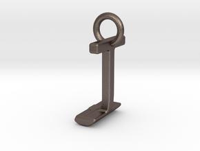 Two way letter pendant - IJ JI in Polished Bronzed Silver Steel