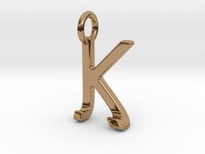 Two way letter pendant - JK KJ in Polished Brass