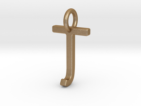 Two way letter pendant - JT TJ in Matte Gold Steel