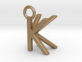 Two way letter pendant - KK K in Matte Gold Steel