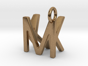 Two way letter pendant - KM MK in Natural Brass