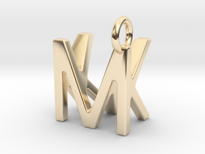 Two way letter pendant - KM MK in 14k Gold Plated Brass