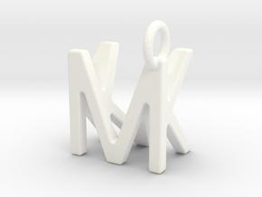 Two way letter pendant - KM MK in White Processed Versatile Plastic