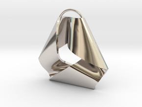 Mobius Triangle Charm (Small) in Rhodium Plated Brass
