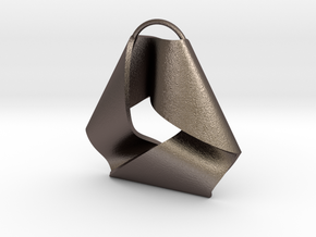 Mobius Triangle Charm (Small) in Polished Bronzed Silver Steel