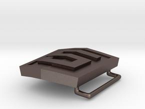 HTML5 Belt Buckle in Polished Bronzed Silver Steel