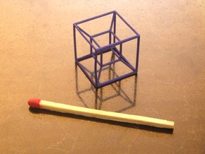 Tesseract (Hypercube) in Blue Processed Versatile Plastic