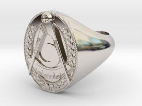 Masonic District Deputy Jewel Ring in Platinum