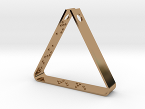 """""""Never Ever Give Up"""" Braille Triangle Pendant in Polished Brass"""