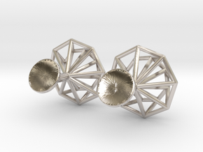 Cufflinks Octagonal in Rhodium Plated Brass