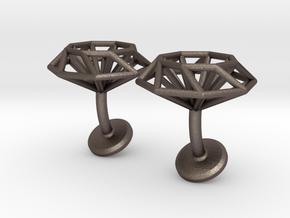 Cufflinks Octagonal in Polished Bronzed Silver Steel