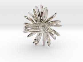 Daisy Ring in Rhodium Plated Brass: 6 / 51.5