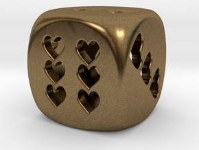 Dice hearts hollow in Natural Bronze