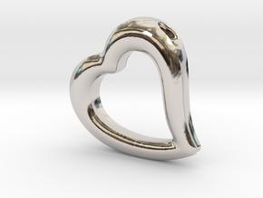 Heart Pendant Mark II (symmetrical) in Rhodium Plated Brass