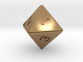 D8 dice in Natural Brass