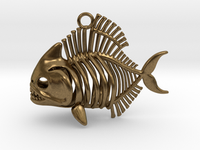 Piranha Pendant in Raw Bronze