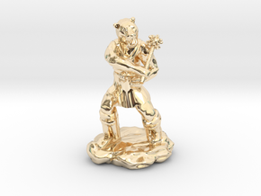 Werebear With Mace in 14k Gold Plated Brass
