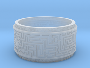 Ancient Maze ring in Smooth Fine Detail Plastic