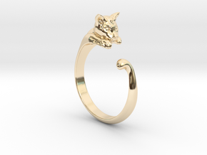 Cat Ring V1 - (Sizes 5 to 15 available) US Size 9 in 14k Gold Plated Brass
