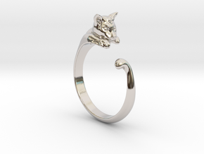 Cat Ring V1 - (Sizes 5 to 15 available) US Size 9 in Rhodium Plated Brass