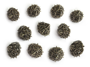 10d10 Thorn Dice Set in Polished Bronzed Silver Steel