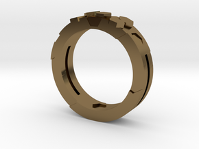 Ring Hex in Polished Bronze