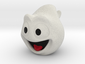 Halloween Ghost Head Smiling White Small in Full Color Sandstone