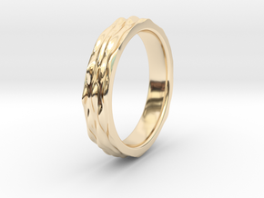 Ripple Textured Ring (Size T) in 14K Yellow Gold