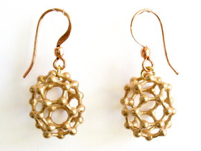 C32 buckyball earrings in Raw Bronze