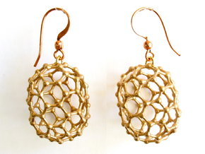 C80 Buckyball earrings in Raw Bronze