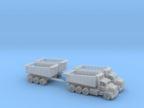 2 Tri Axle Dump Trucks W DumpTrailer N Scale in Smooth Fine Detail Plastic