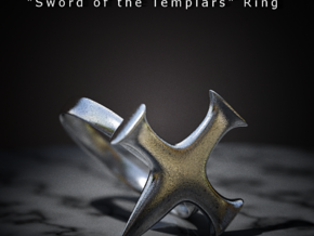 Sword of the Templars Ring in Polished Bronzed Silver Steel