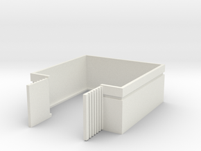 Trash Enclosure; Open Doors in White Natural Versatile Plastic