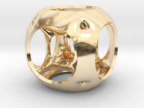 Hypercube-tesseract- pendant in 14k Gold Plated Brass