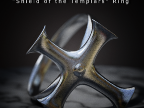 Shield of the Templars Ring in Polished Bronzed Silver Steel