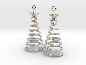 Spiral Christmas Tree w Star Earrings in Rhodium Plated Brass