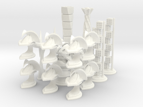 Chess Set Pieces White (PART 4) in White Processed Versatile Plastic
