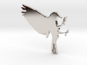 Bird Pendant in Rhodium Plated Brass