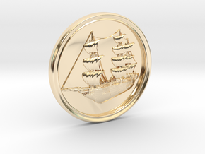 Ship Basrelief in 14k Gold Plated Brass